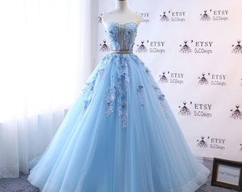 98b12b2ae15 2018 A-line Wedding Dresses Blue Long with Butterfly Prom Dress Ball Gown  Long Quinceanera Dress Masquerade Prom Dress Bridal Gown Corset