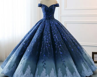 e06f8b583a6 High Quality 2019 Modest Prom Dresses Ombre Royal Blue Wedding Evening  Dress Gradient Blue Shade Sequin Women Formal Party Gown Bride Gown