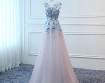 2bd1245eccb2 2019 Prom Dresses Long Pink&Blue Butterfly Evening Dress Floral Tulle Dress  Women Formal Party Gown Fashionable Bride Gown Corset Back KS-17