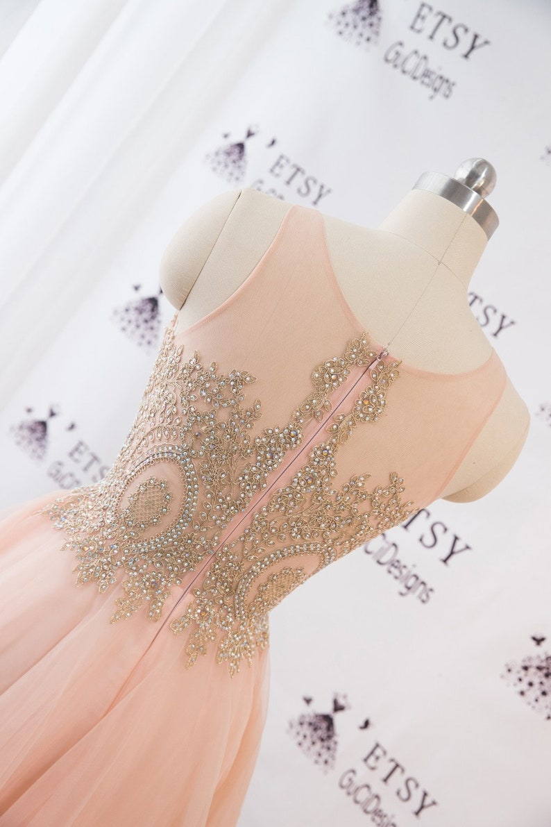 Wedding Dress Orange Pink Women Formal Prom Dress High Low Skirt Tulle in Gold Applique Beaded Illusion Back Evening Dress Beach Bridal Gown