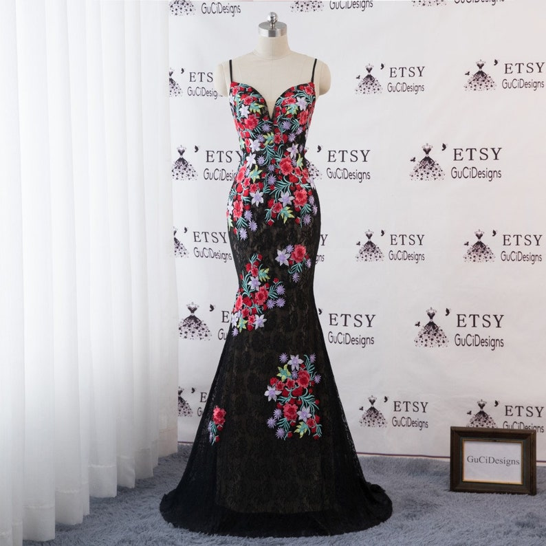 Sexy Mermaid Evening Prom Ball Gown Black Dress Satin Straps Etsy