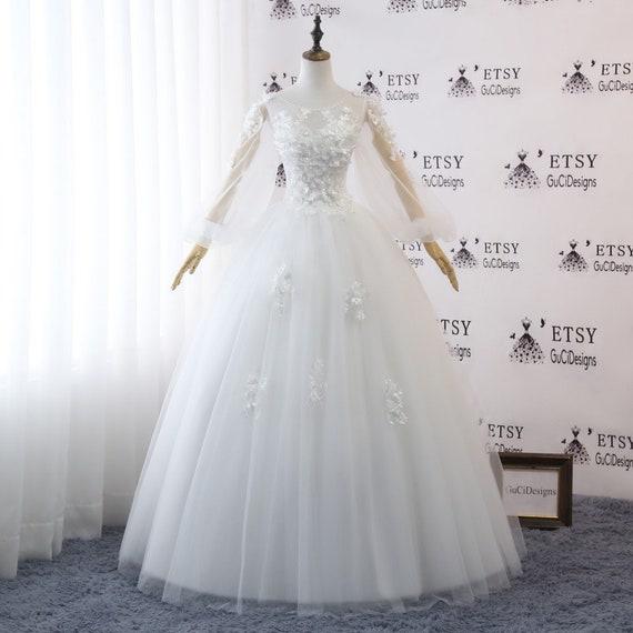 A-line wedding Dress Full/Floor length Bride Gown WhiteScoop | Etsy