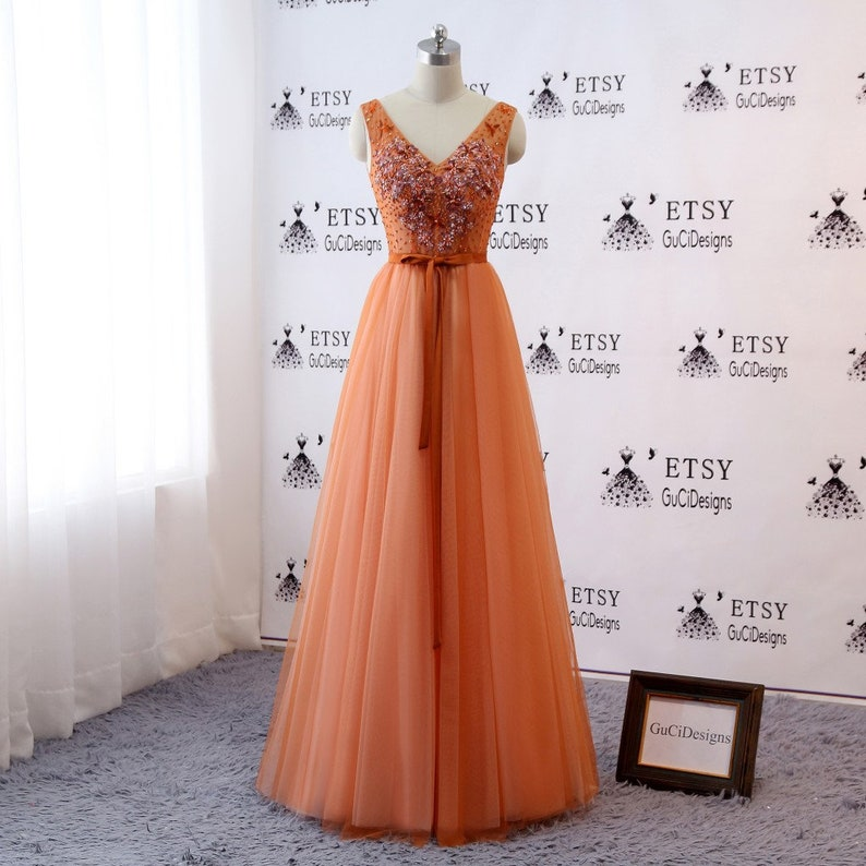 Custom Plus size/color Orange Prom Ball Gown with V-neck | Etsy