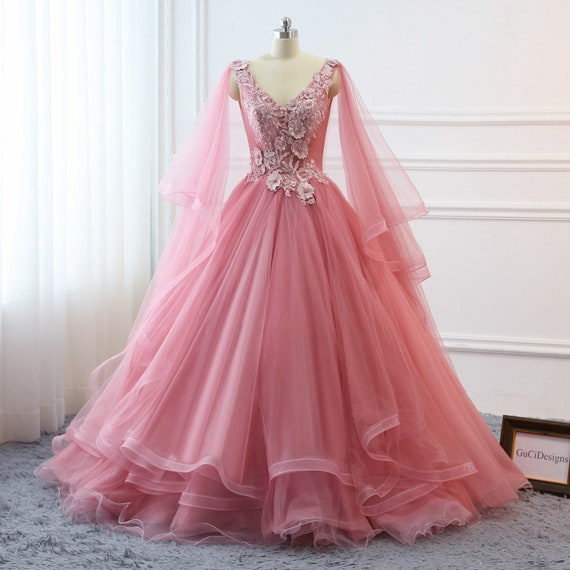 Fuchsia Gown: Custom Women Blush Pink Prom Dress Ball Gown Long