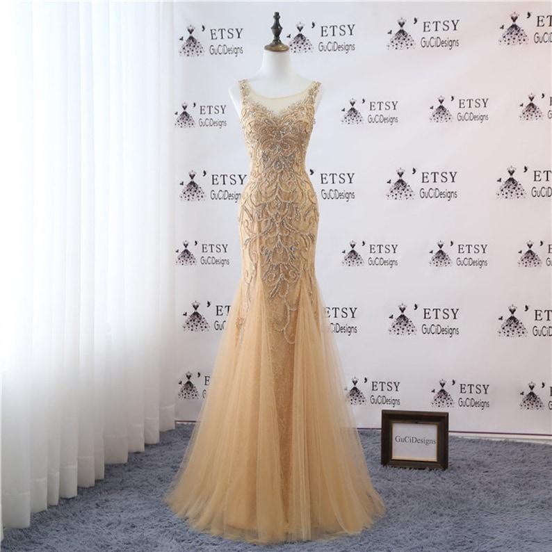 Newest Wedding Dress.Newest Wedding Gown Champagne Luxury Rhinestones Diamond Bridal Gown Sheath Evening Dress Tulle Illusion Back Wedding Party Dress For Women