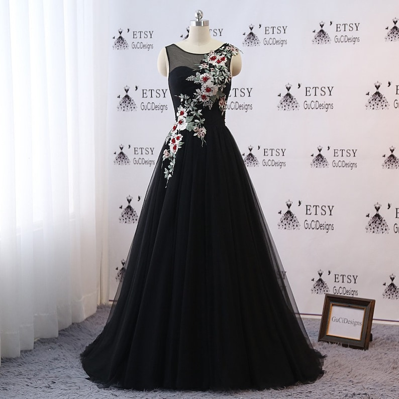 41df6dcf49f 2019 Prom Ball Gown Dresses Long Black Evening Dresses with