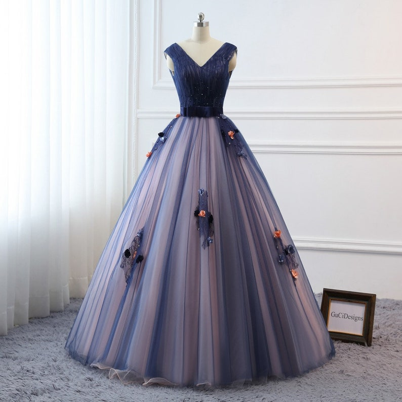 Prom Ball Gown Plus Size Long 2019 Women Formal Dresses Dark Bule flower  Quinceanera Dress Masquerade Prom Dress Wedding Bride Gown