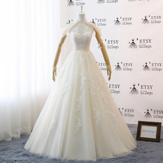 A Line High Neckline Wedding Dresses Bridal Gown Whiteivory Etsy