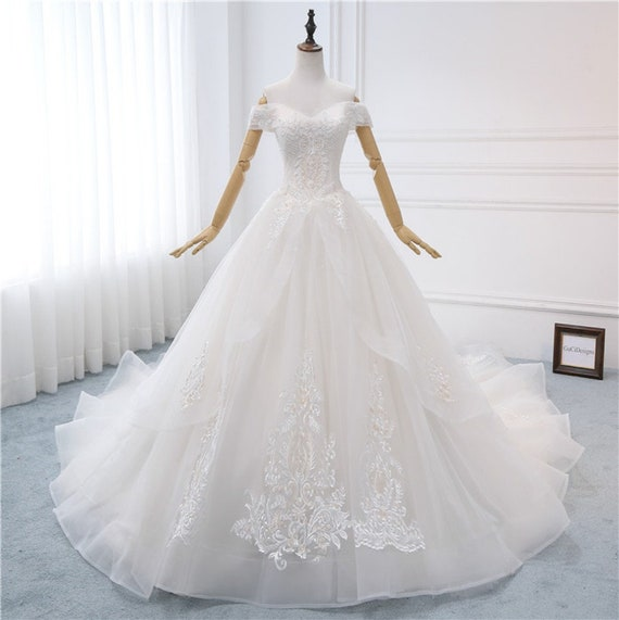 2018 Aline Princess Wedding Dress Unique White Lace Applique Etsy