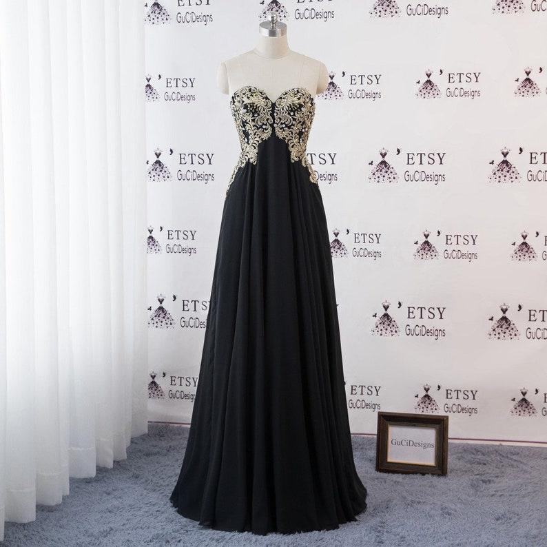 51d754dc7b7 Women Formal Elegant Evening Dresses Black Chiffon Skirt Gold