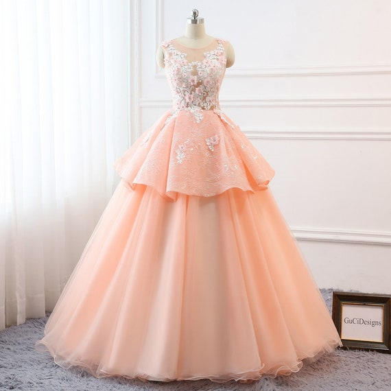 2018 Senior Prom Ball Gown Orange Pink Princess Dress Long | Etsy
