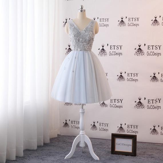 2018 Prom Dresses Short Gray Evening Dress Formal Gown Women | Etsy