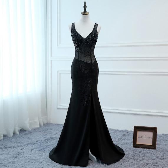 Black Prom Dresses Long Trumpet Mermaid V-neck Evening Dresses  e524875923