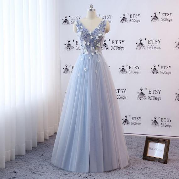 Custom Prom Ball Gown Long Blue Evening Dress Floral 3D Flower | Etsy