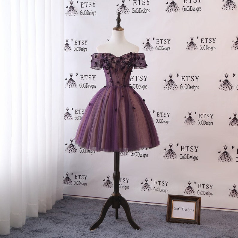 54ff3c0d5 Junior/Senior Girls Homecoming Dress Purple Lace Prom Dress | Etsy