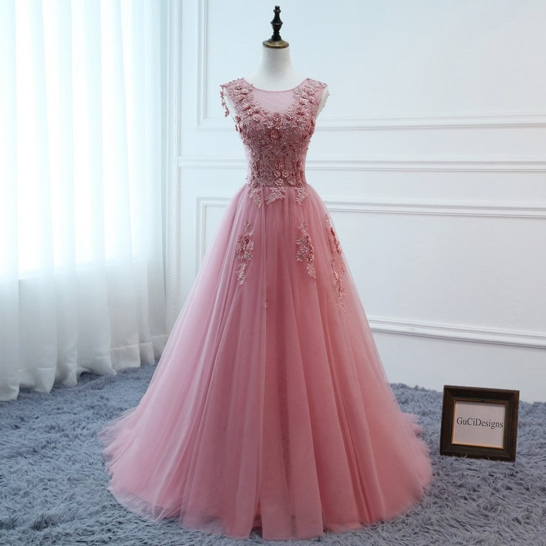 f9554124071 Elegant Pink Ball Gown Tulle Women Formal Evening Prom Dress