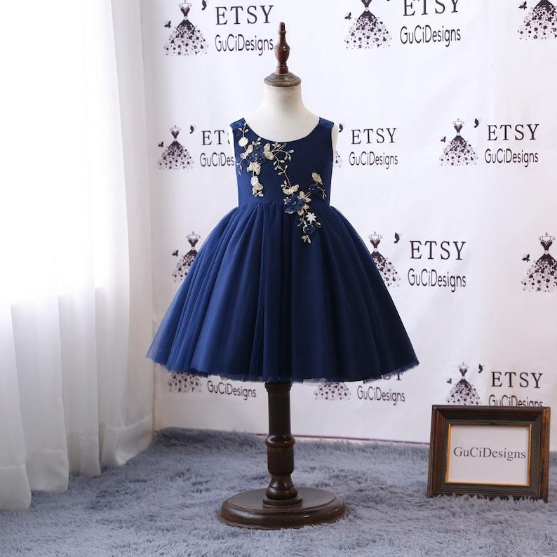 49d87526e2d Navy Blue Flower Girl Dresses For Weddings Baby Girls Lovely
