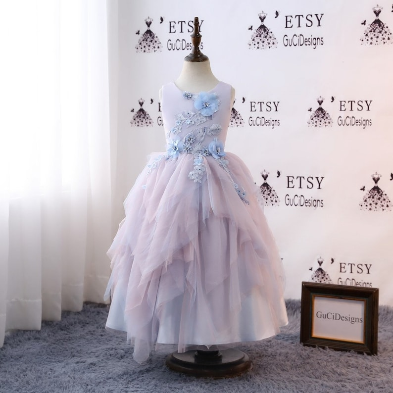 83ce03bcec1 Princess Lilac Blue Flower Girl Dresses 2018 Tulle Girls
