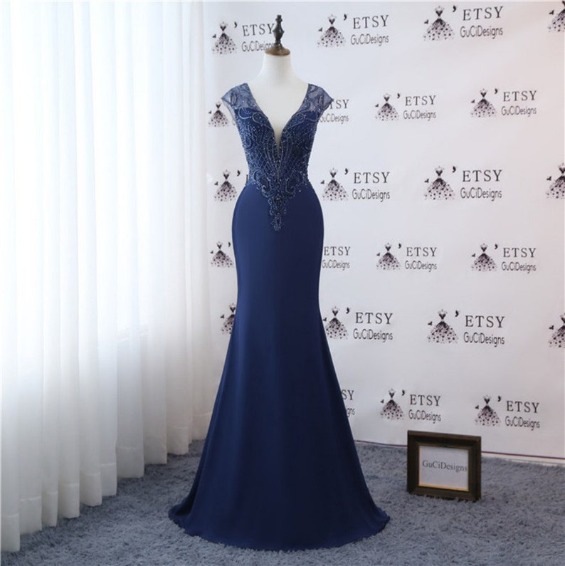 888da0920569 Evening Dresses for women Navy Blue Formal 2019 New Wedding | Etsy