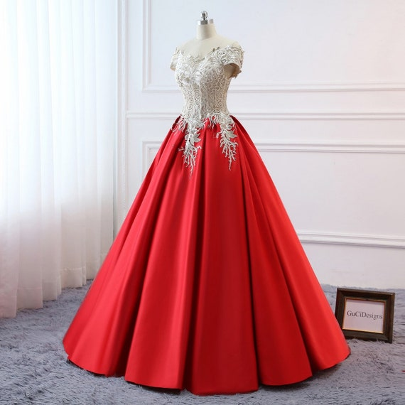 Prom Ball Gown Plus Size Long 2019 Women Formal Dresses Red | Etsy