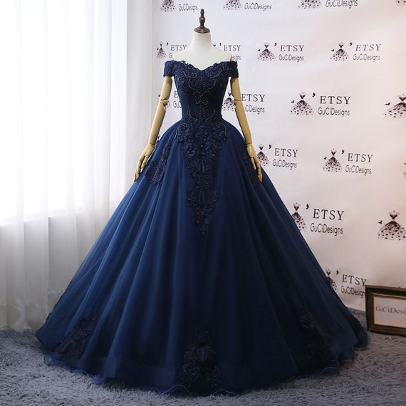 Prom Dresses Navy Blue Wedding Dresses Floral Lace Ball Gown Off Shoulder Evening Dress Noble Tulle Dress Women Formal Party Gown Bride Gown