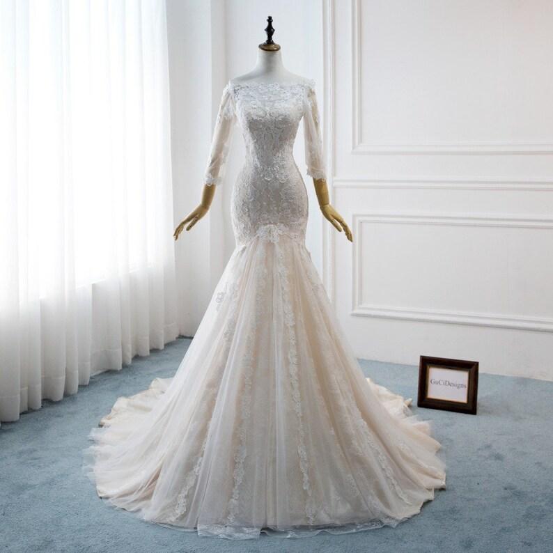 3c891e29a1e4 Sexy Sheath Mermaid Wedding Dresses Trumpet White Royal Lace | Etsy