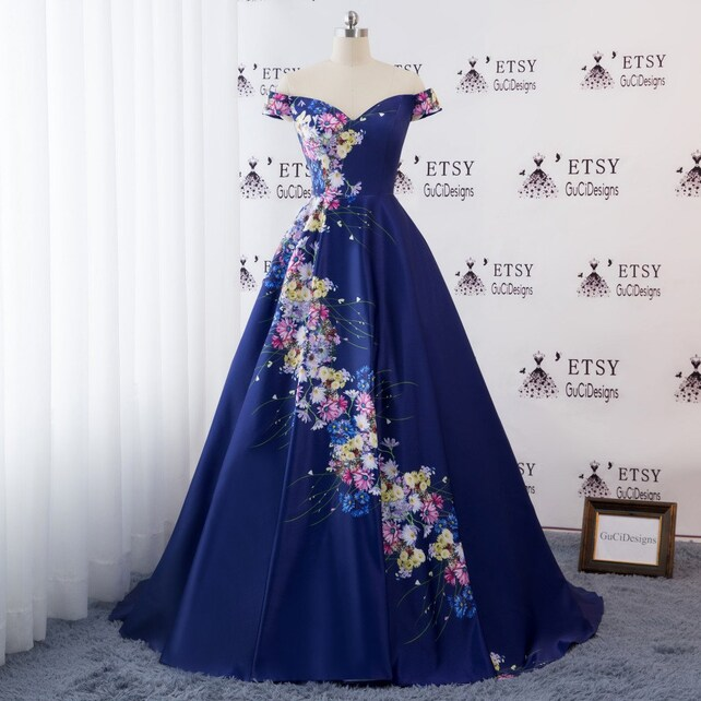2018 Evening Prom Ball Gown Dress Off Shoulder Navy Blue Satin | Etsy