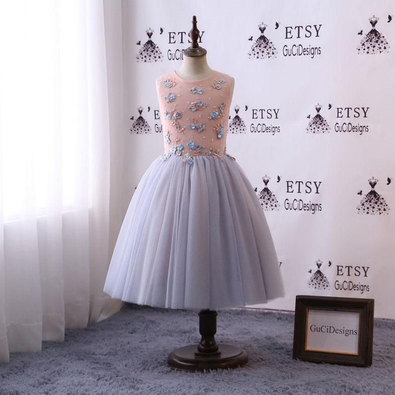 3c9e4aebbaab Floral Dress 2018 Flower Girl Dresses Long Gray Pink Bead