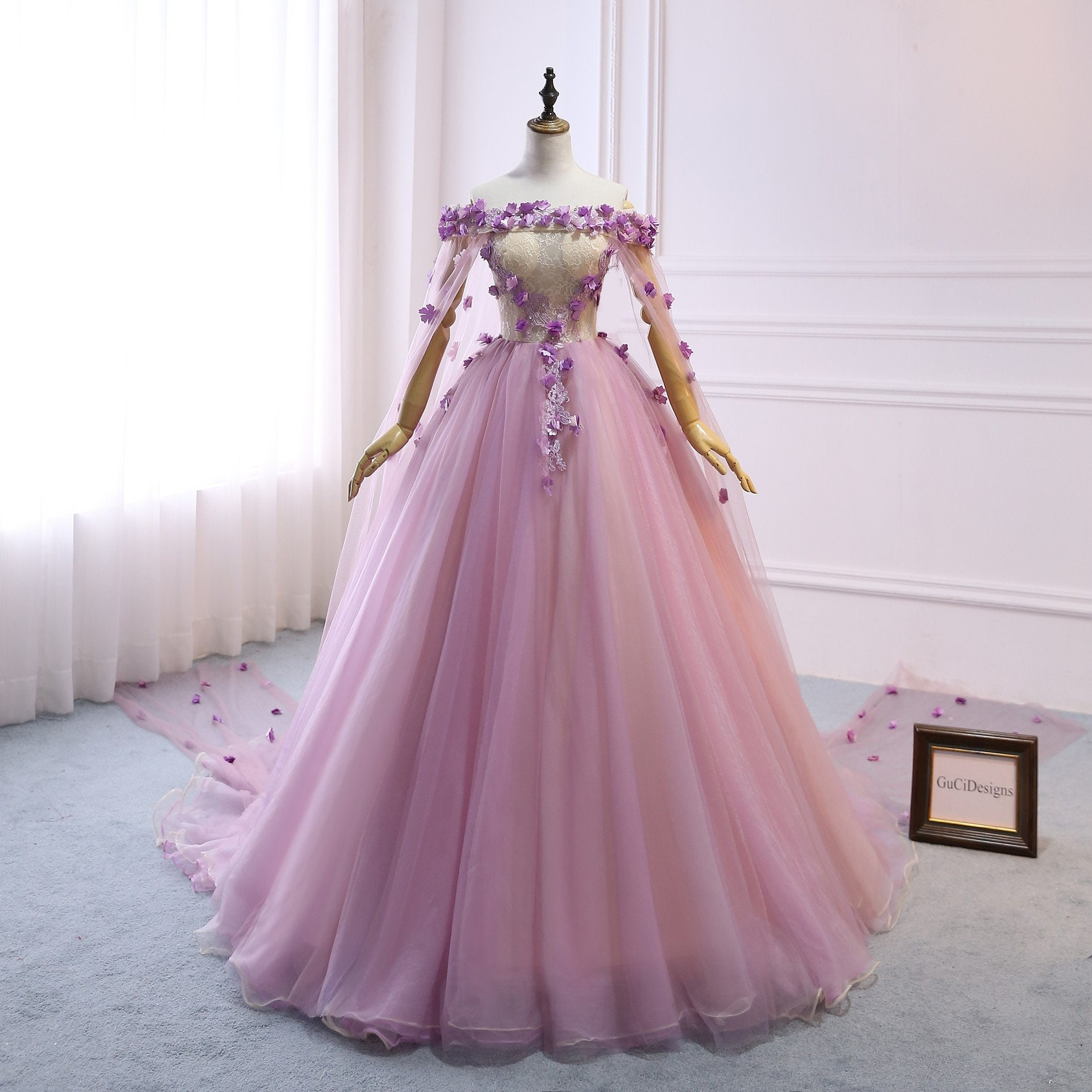 c72629e139b Custom Women Light Purple Prom Dress Ball Gown Long