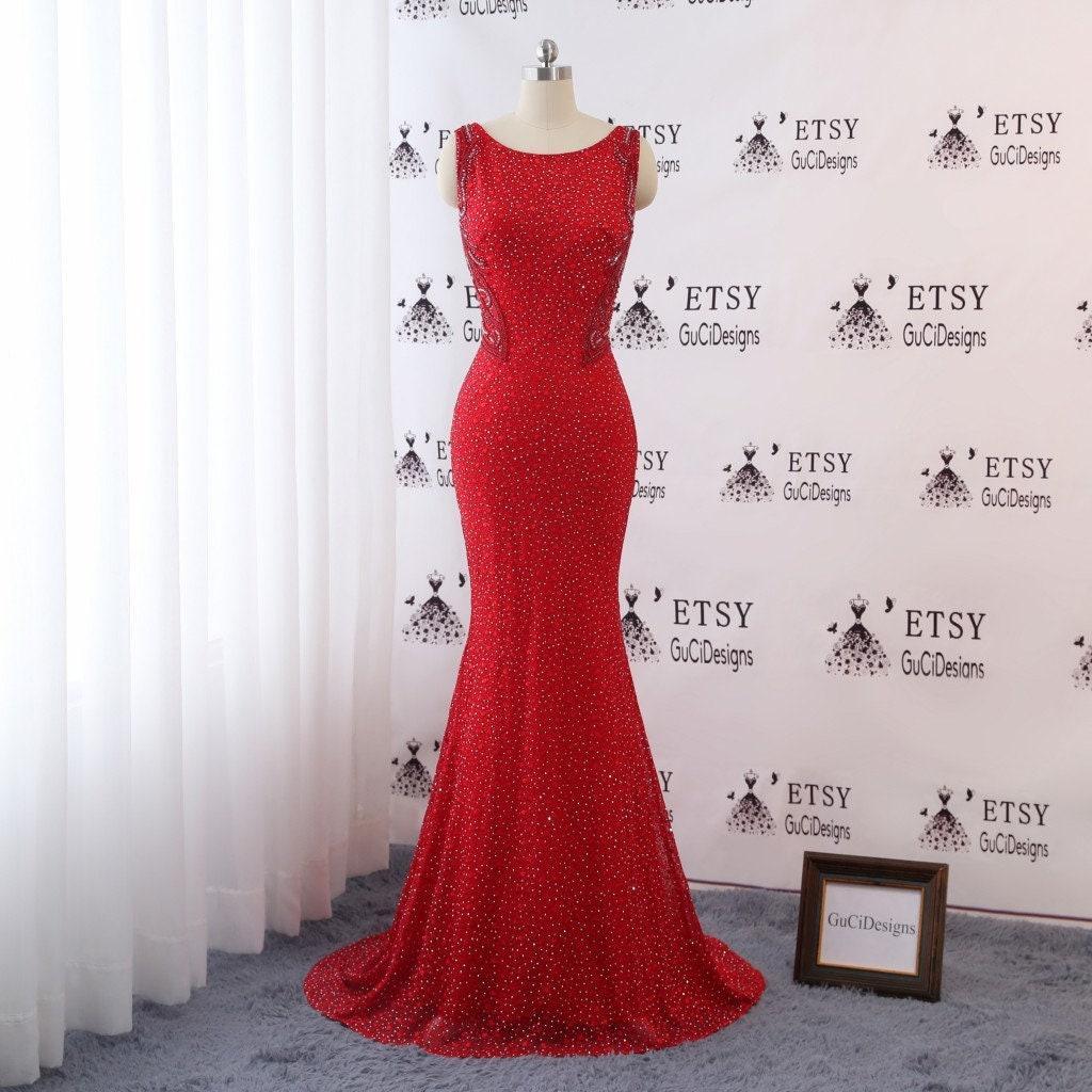 Elegant Red Black Evening Dress Mermaid 2018 Diamond ...