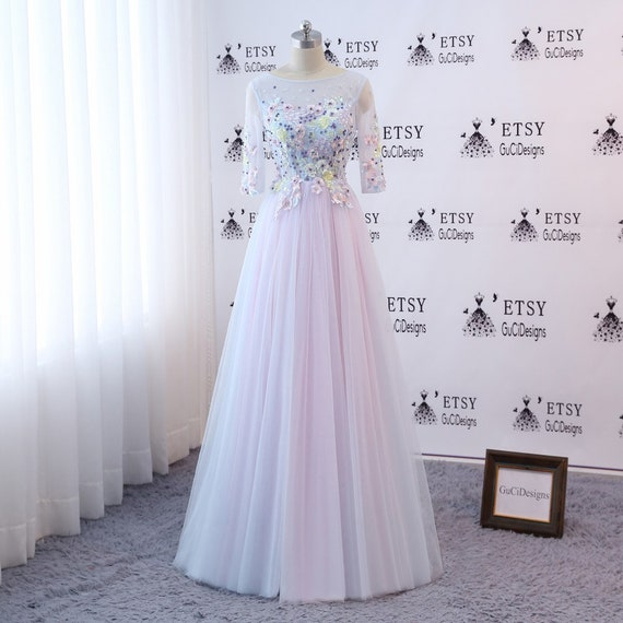 Custom Prom Ball Gown Long Pink Evening Dress 3/4 Sleeve | Etsy