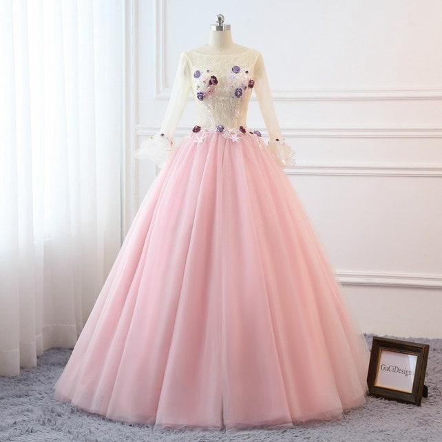 Custom Women Light Pink Prom Dress Ball Gown Long Quinceanera | Etsy