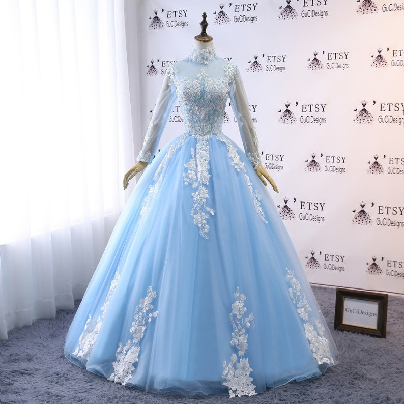 5c1c96570 2019 High Neck Prom Ball Gown Dress Illusion Long Sleeve Dress