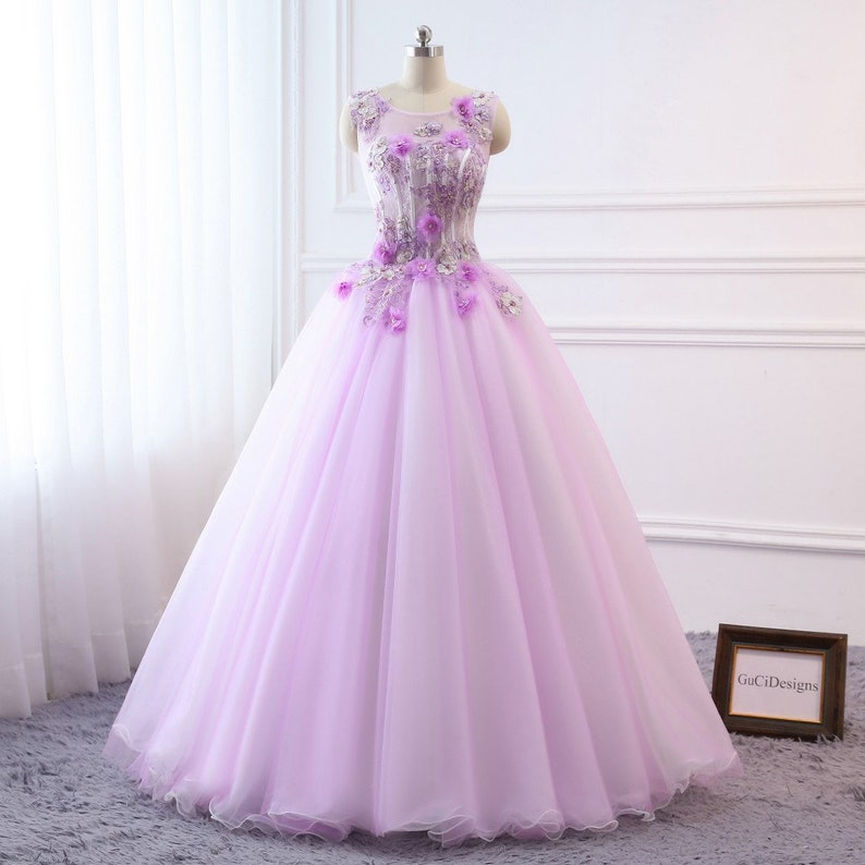 82dc6eff60 2019 Prom Ball Gown lavender Purple Dress Long Tulle Dress