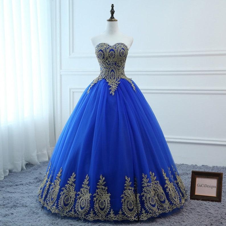 6b763017c6d 2019 Prom Ball Gown Royal Blue Dress Long A-line Gold Applique