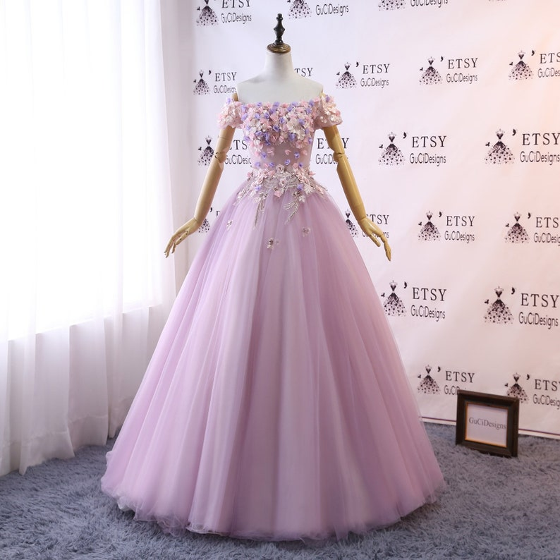 668a7dfe15 Prom Ball Gown Lavender Purple Dress Long Tulle Dress Women
