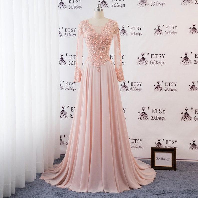 06be4cac70 2019 Women Formal Dresses Baby Pink Long Prom Dresses Long Sleeve Chiffon  Skirt Elegant Evening Dress Beaded Lace Bridal Wedding Party Dress