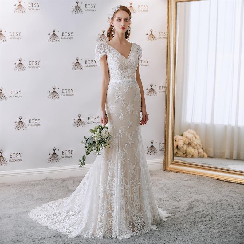 V neck Elegant Wedding Dress Lace Boho Party Gown Long image 1