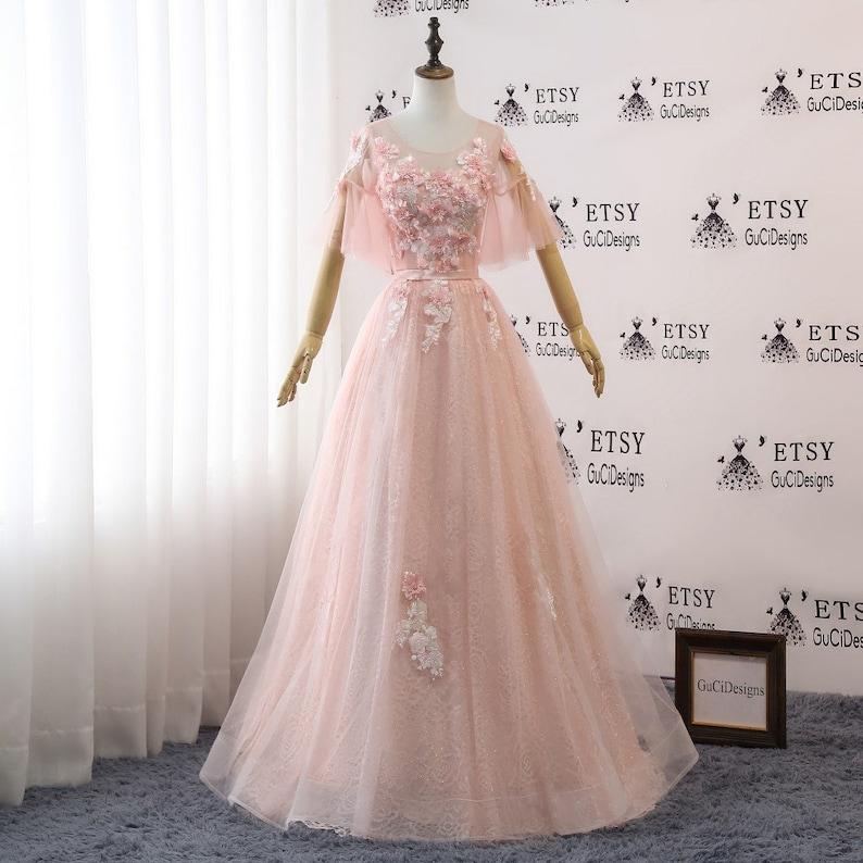 8910cb66b05 Aline Prom Dress Peach Pink Evening Dress Long Floral Flower