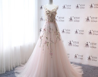 Super Fashion Wedding Dresse Floral Embroidery Aline Bridal Gown Light Pink Celestial  Spaghetti Tulle Prom Gown Long Evening  Party Dress