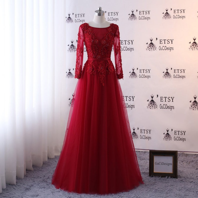 a71ab0e5d6b Prom dress Long Deep Red Full Sleeve Evening Dress A-line