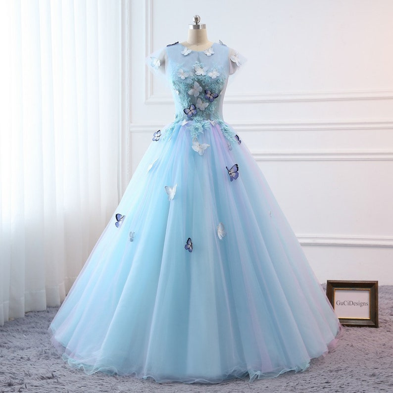 Prom Ball Gown Plus Size Long 2019 Women Formal Dresses Sky Blue Butterfly  flower Quinceanera Dress Masquerade Prom Dress Wedding Bride Gown