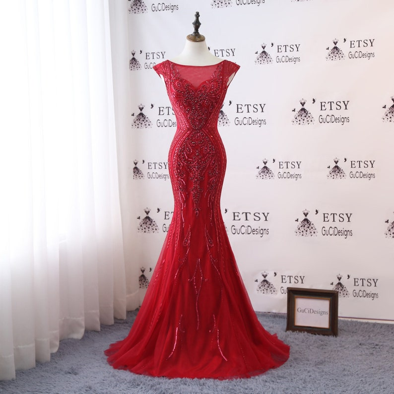 949495b59b Sexy Deep V neck Prom Dress Red Mermaid Trumpet Design 2019 Luxury Gold  Crystal Women Formal Evening Party Gown ...