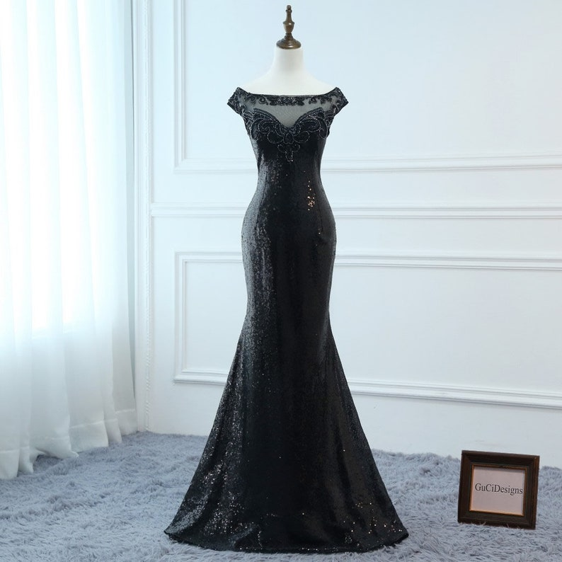 c4cacd43a24 Black Sequin Prom Dresses Long Trumpet Mermaid V Bateau