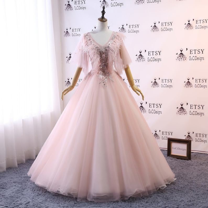 5acf72ab7b0e2 Custom Women Pink Prom Dress Vneck Ball Gown Long Quinceanera Dress Lace  with Feather Masquerade Prom Dress Wedding Bride Gown Illusion Back