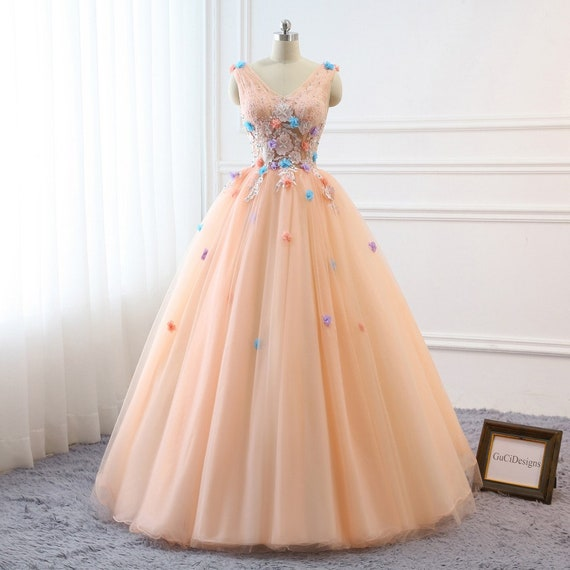 Prom Ball Gown Plus Size Long 2019 Women Formal Dresses Tulle Orange Pink  flowers Quinceanera Dress Masquerade Prom Dress Wedding Bride Gown