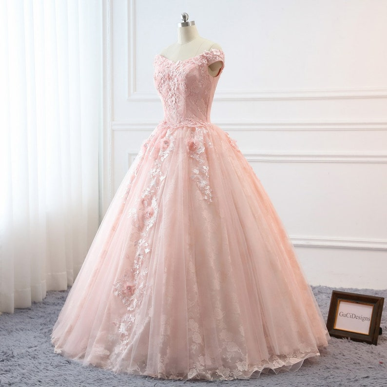 171826d304cc5 Custom Women Light Pink Prom Dress Ball Gown Long Quinceanera Dress Floral  Flowers Masquerade Prom Dress Wedding Bride Gown Illusion Back-32