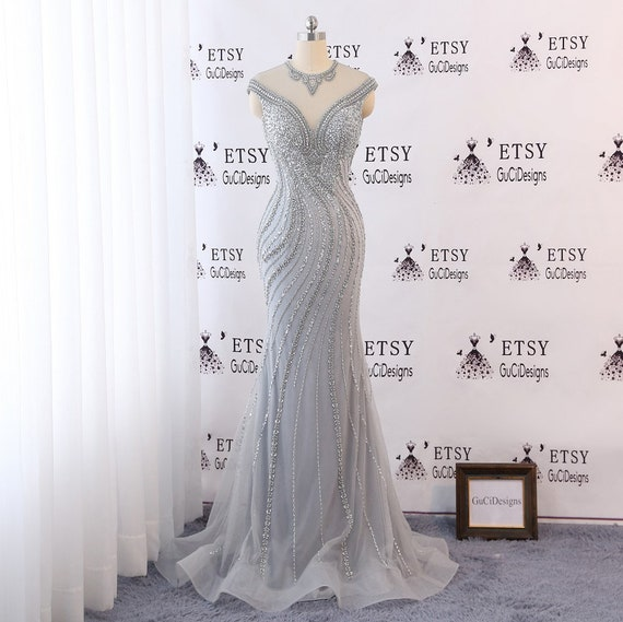 4c901b1d85 Sexy Mermaid Evening Prom Ball Gown Dress Beaded Gray Champagne Bridal Gown  Tulle Dazzling Sequin Beads Bride Wedding Reception Guest Dress