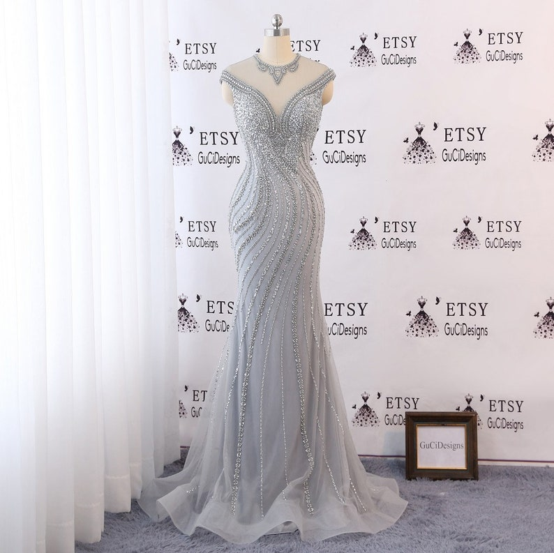 614282725d0 Sexy Mermaid Evening Prom Ball Gown Dress Beaded Gray