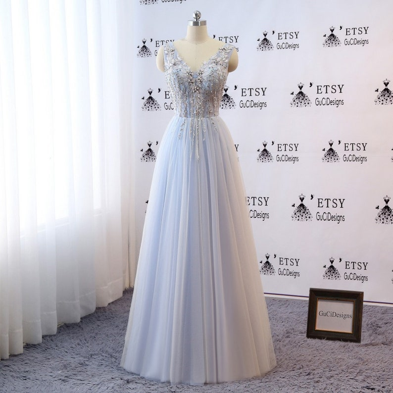 2019 Bridal Gown Beach Wedding Dresses Bohemian Vintage Embroidery Prom Dress Long Blue White Evening Dress With Applique Lace Formal Gown